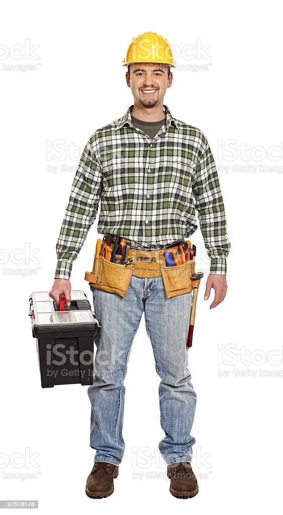 standing bricoleur avec boîte à outils photo libre de droits