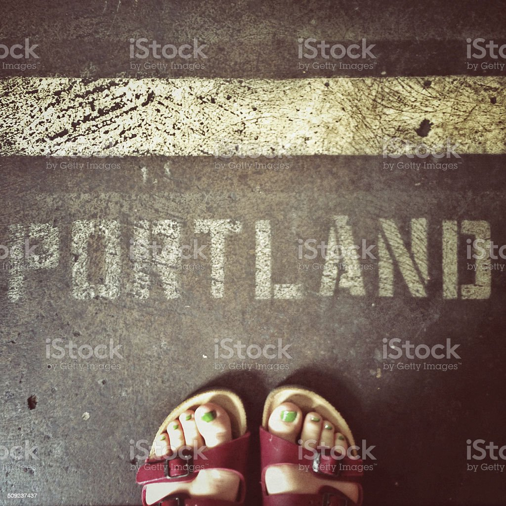 Standing in Portland stock photo