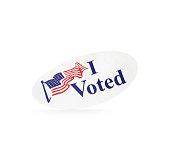 Balanced I voted sticker on a white background.