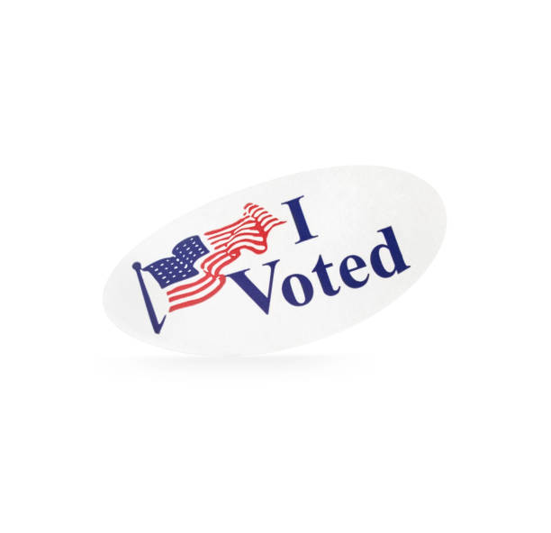 Standing Isolated Election I Voted Sticker stock photo