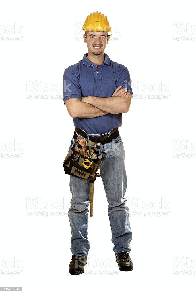 standing isolated young manual worker stock photo