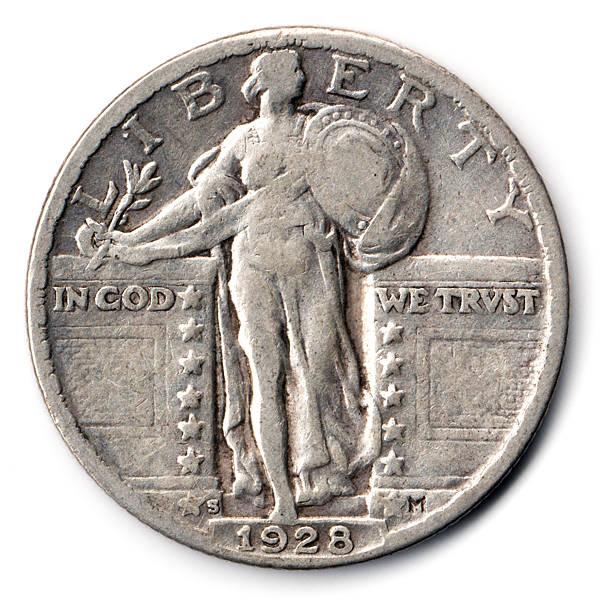 Standing Liberty USA Quarter 1928 stock photo