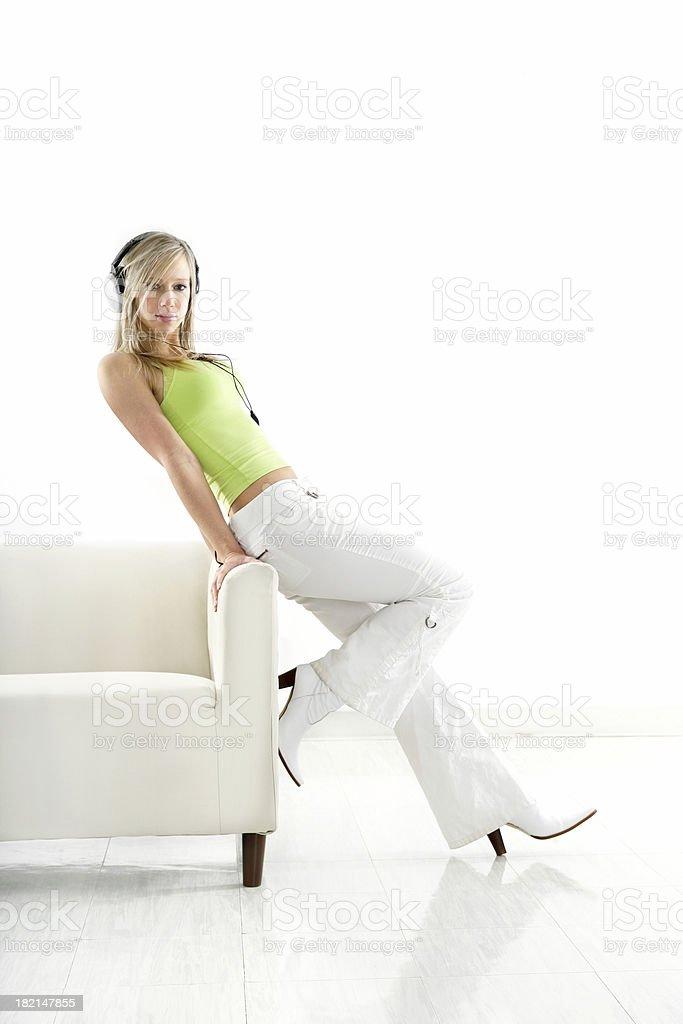 Standing, listening music royalty-free stock photo