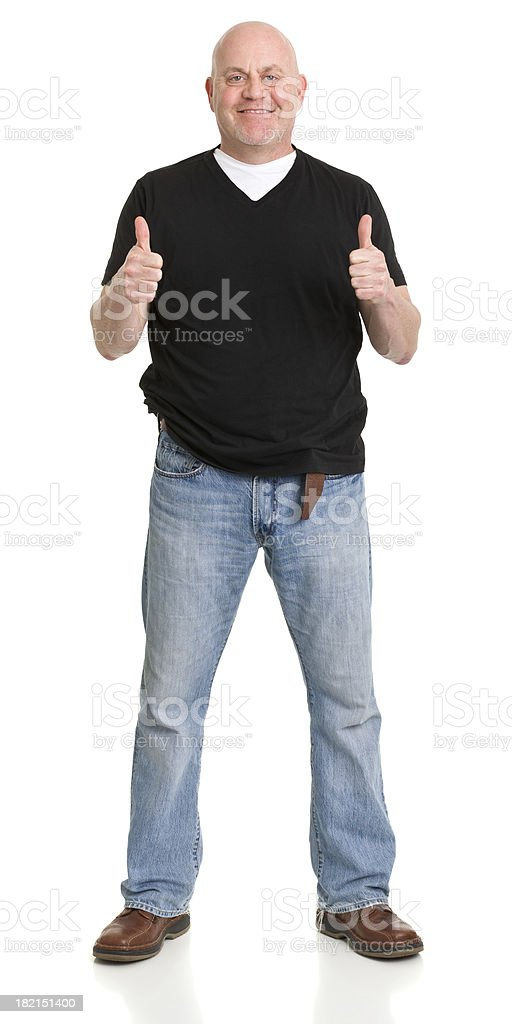 Standing Man Gives Two Thumbs Up stock photo