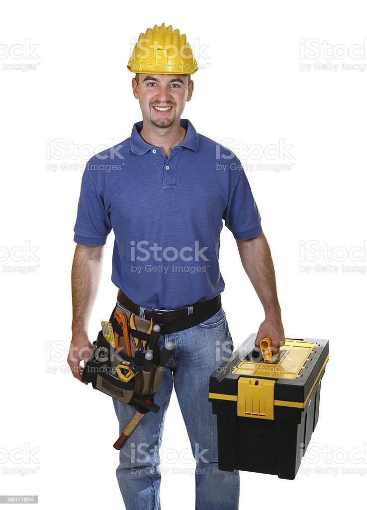 standing manual worker with tool box royalty-free stock photo
