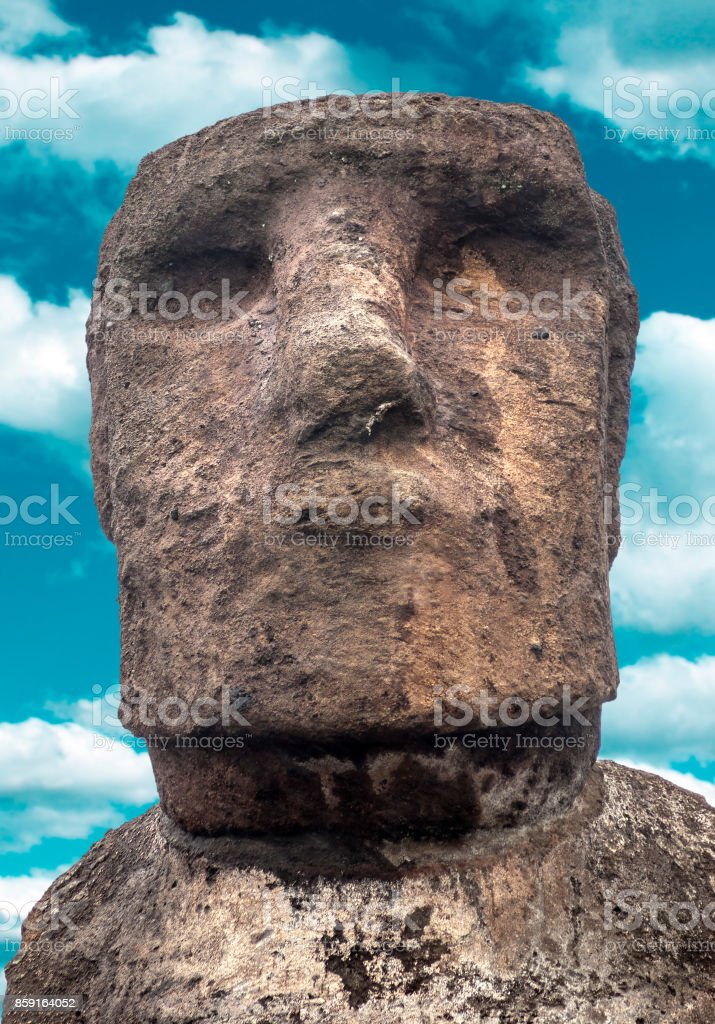 Standing Moai on Easter Island, Chile stock photo
