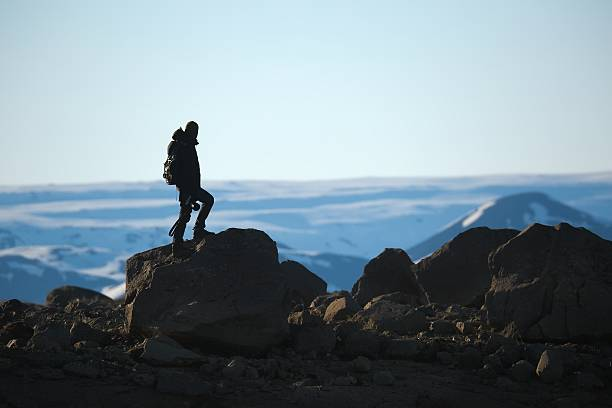 standing on a cliff - distant stock pictures, royalty-free photos & images