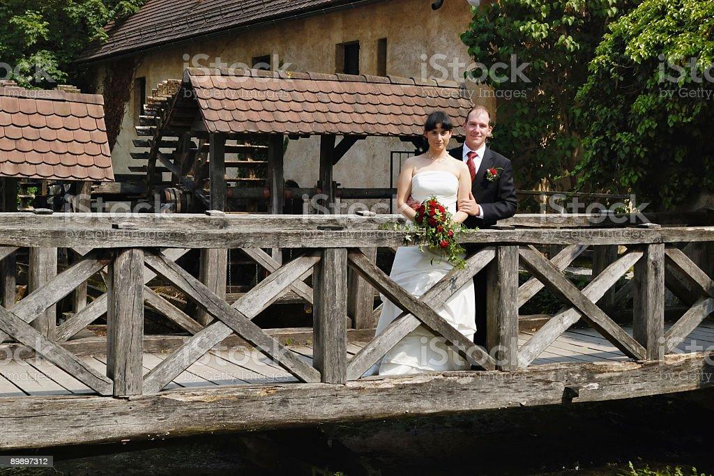 Standing on the bridge royalty-free stock photo