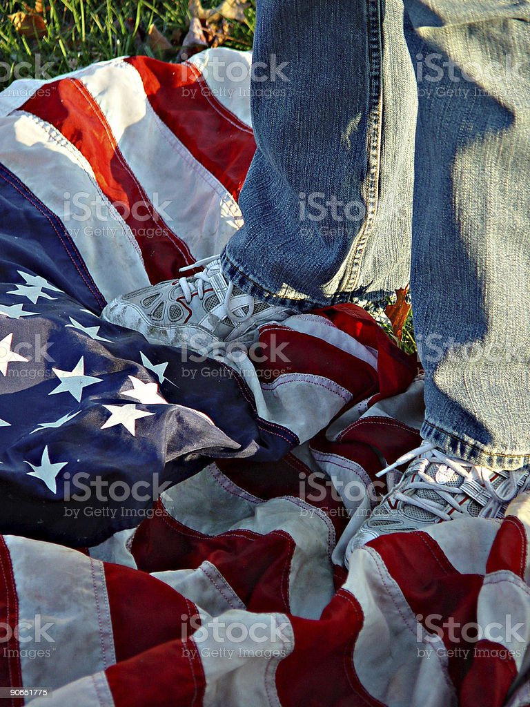 Standing on the Flag royalty-free stock photo