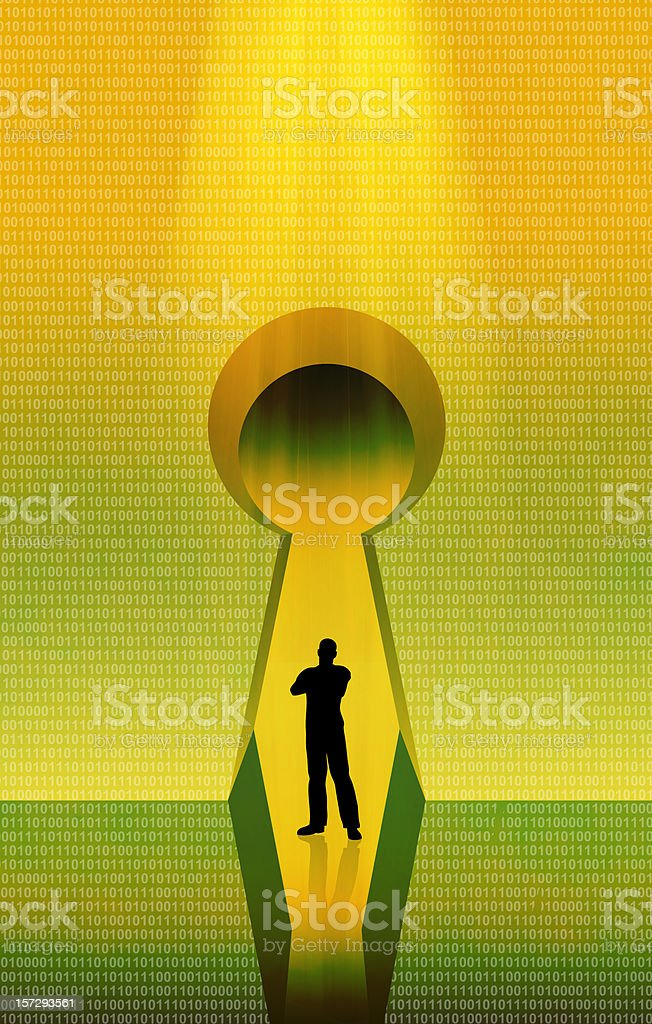 Standing on the Keyhole royalty-free stock photo