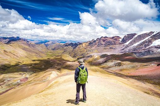 istock Standing on the top of Rainbow Mountain. 1051800768