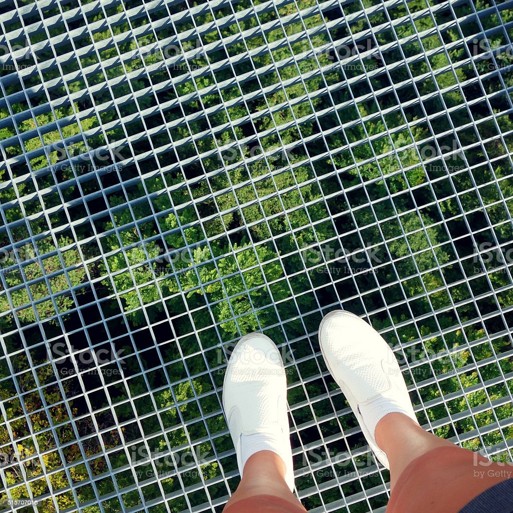 Standing on the world's longest rope bridge for pedestrians stock photo