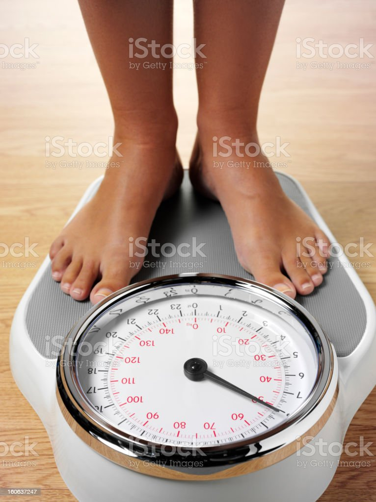 Standing on Weighing Scales royalty-free stock photo