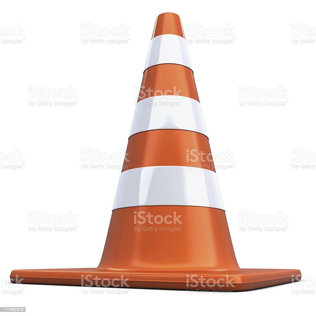Standing Orange Traffic Cone stock photo