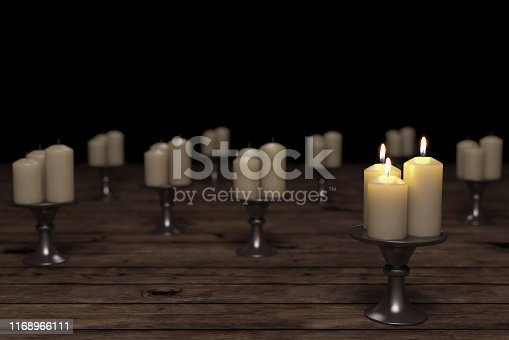 Standing Out From The Crowd Concept With Candles ( 3d render )