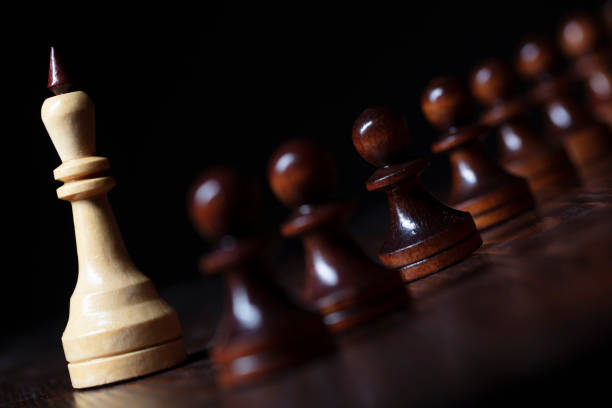 Standing Out From the Crowd. King and pawn. stock photo