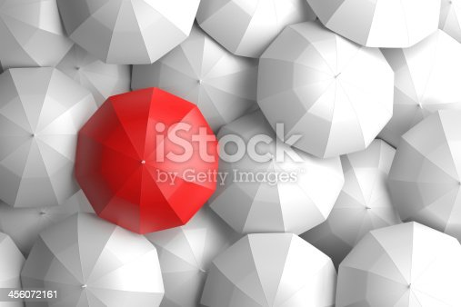 large group of white umbrellas with a colored one standing out from the rest. 3d rendered image using my own 3d models.