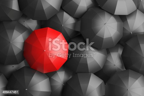 large group of black umbrellas with a colored one standing out from the rest. 3d rendered image using my own 3d models.