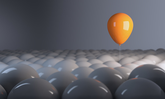 Different, unique, standing out from the crowd with balloons. ( 3d render )