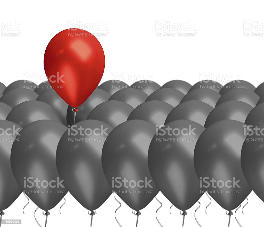 Standing Out From The Crowd Red Balloon Concept royalty-free stock photo