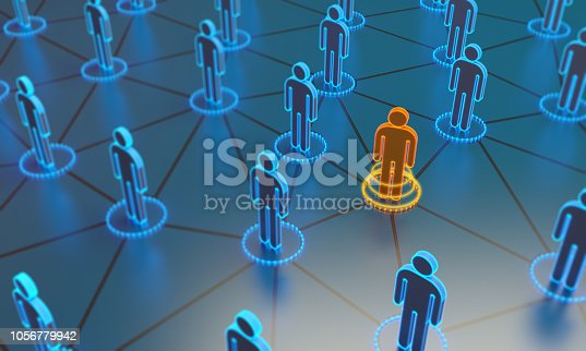 istock Standing Out From The Crowd With 3d People - Social Network 1056779942