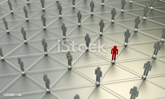 istock Standing Out From The Crowd With 3d People - Social Networking 1053887136