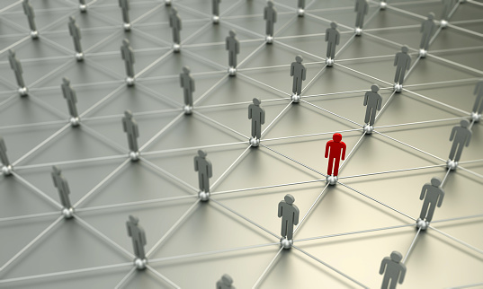 688372024 istock photo Standing Out From The Crowd With 3d People - Social Networking 1053887136