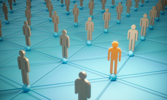 688372024 istock photo Standing Out From The Crowd With 3d People - Social Networking 1187589155