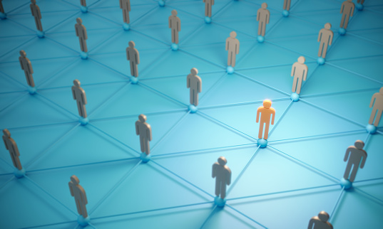 688372024 istock photo Standing Out From The Crowd With 3d People - Social Networking 1187589235