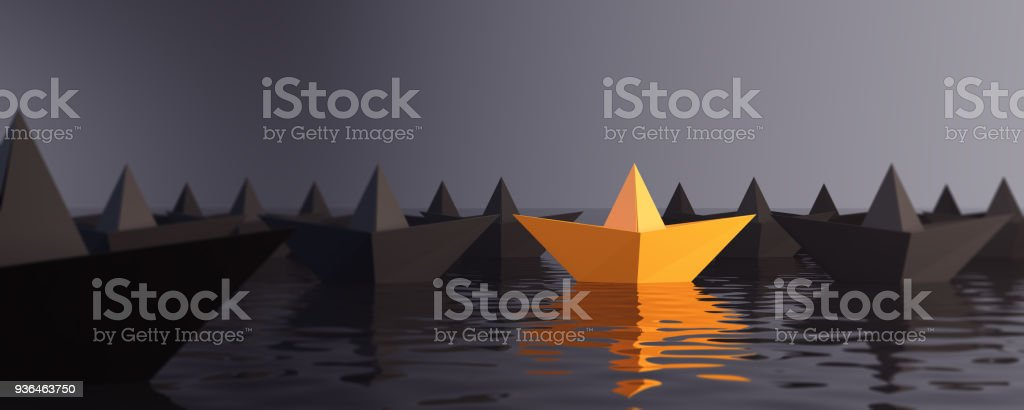 Standing Out From The Crowd With Paper Boats stock photo