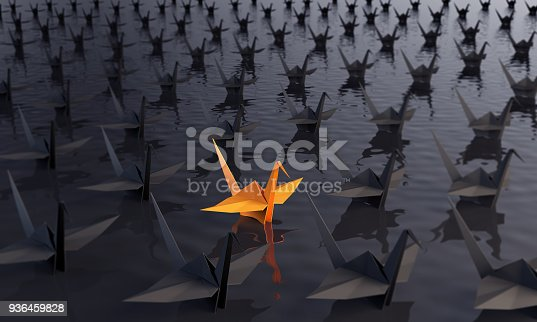 istock Standing Out From The Crowd With Paper Cranes 936459828