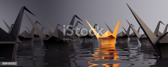 istock Standing Out From The Crowd With Paper Cranes 936460002