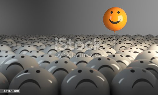 istock Standing Out From The Crowd With Smiling Sphere 902922438