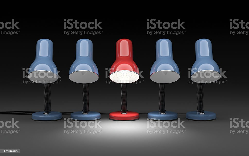 Standing Out in a Group of Desk Lamps XL+ royalty-free stock photo
