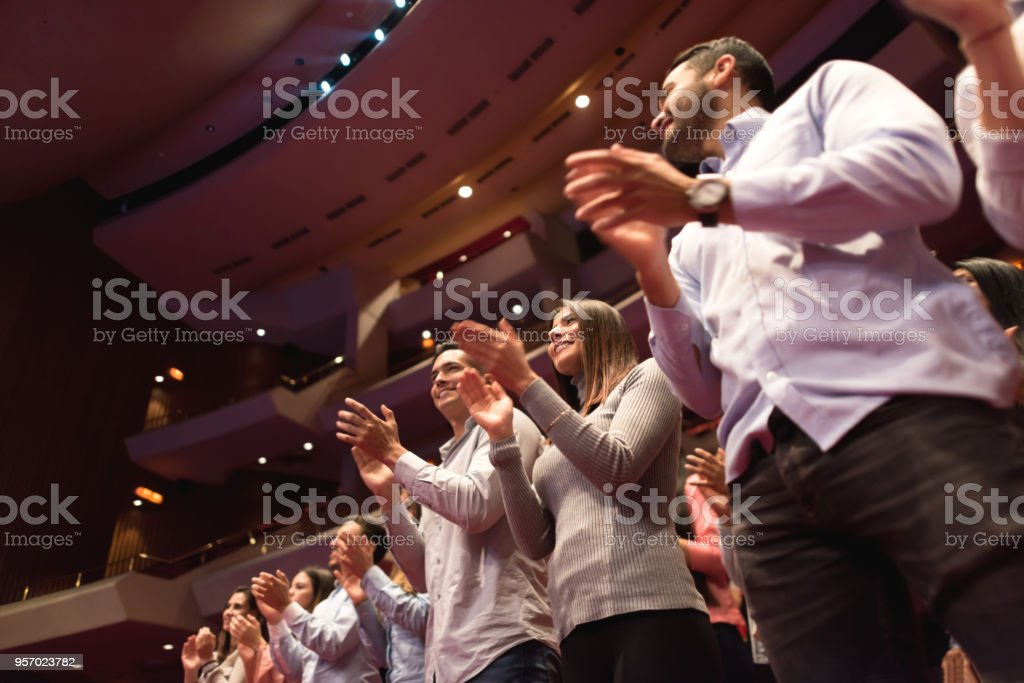Standing ovation on the public after a beautiful ballet performance stock photo