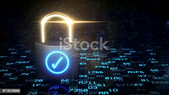 A carbon fibre padlock standing locked on an encrypted data surface with a blue glowing check mark on it. This image represents an abstract design in the domain of IT, security, nanotechnology, artificial intelligence or similar advanced technology. The image is a made up 3D concept render.