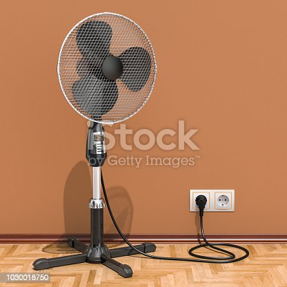 898247654 istock photo Standing pedestal electric fan in interior, 3D rendering 1030018750