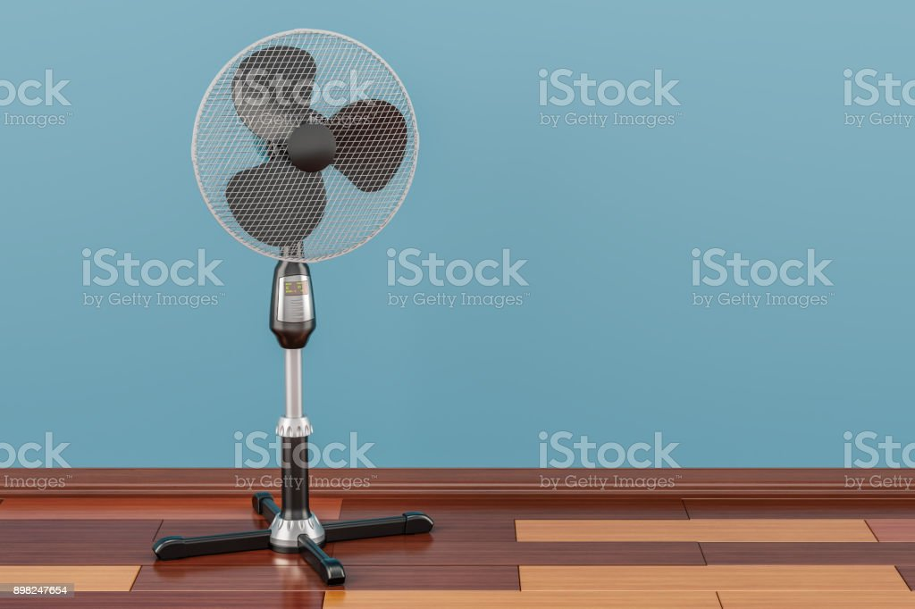 Standing pedestal electric fan in room on the wooden floor, 3D rendering stock photo