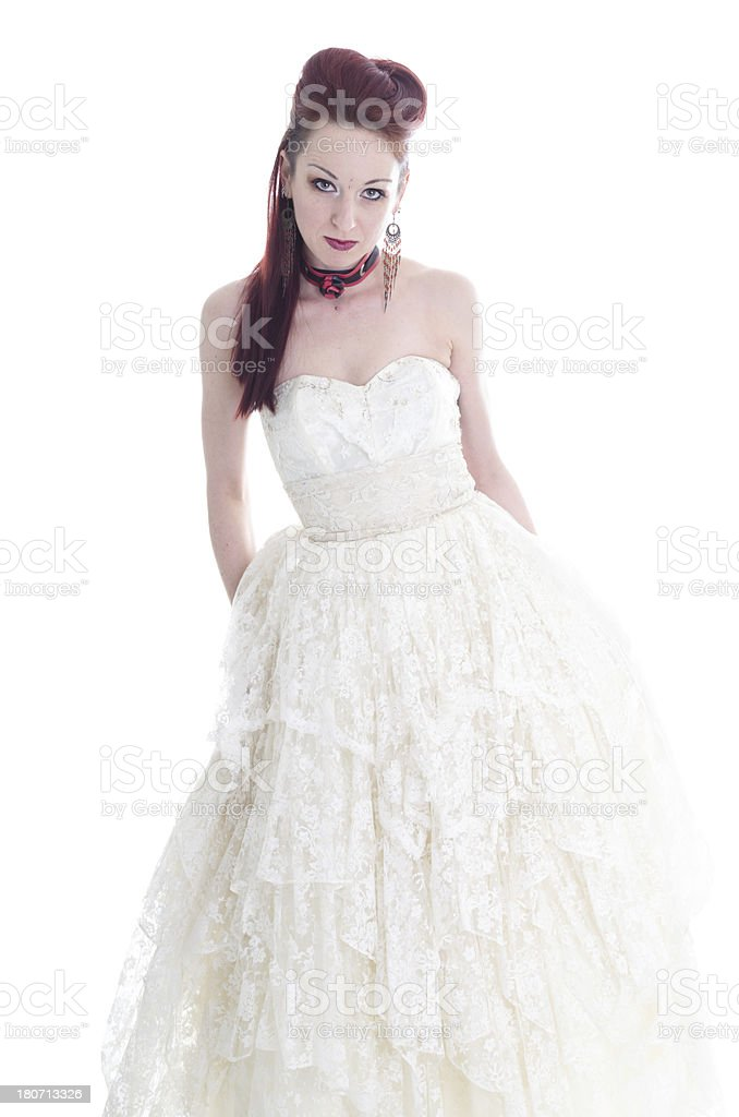 Standing red-headed bride. royalty-free stock photo