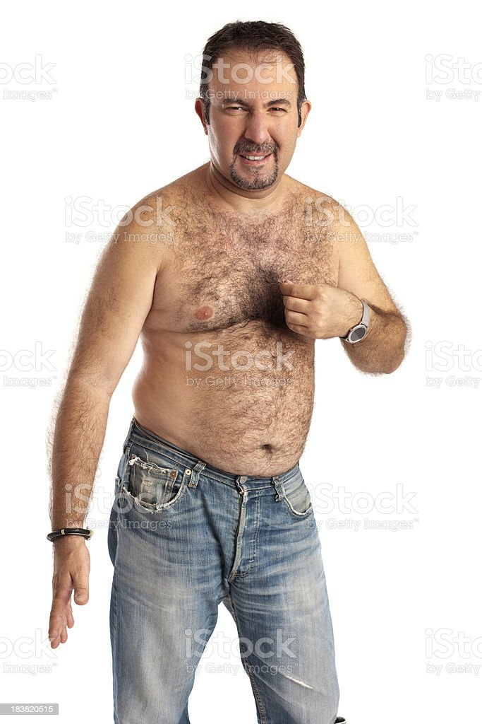 Standing Seminude Hairy Man is Unhappy royalty-free stock photo