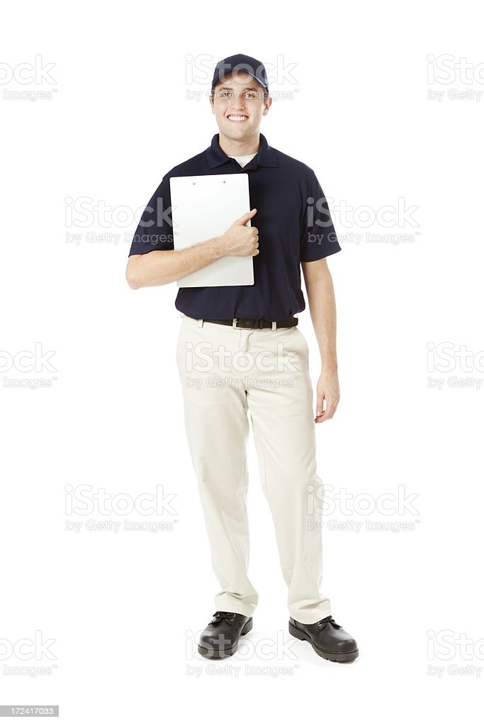 Standing Service Man in Uniform Holding Clipboard on White Background royalty-free stock photo