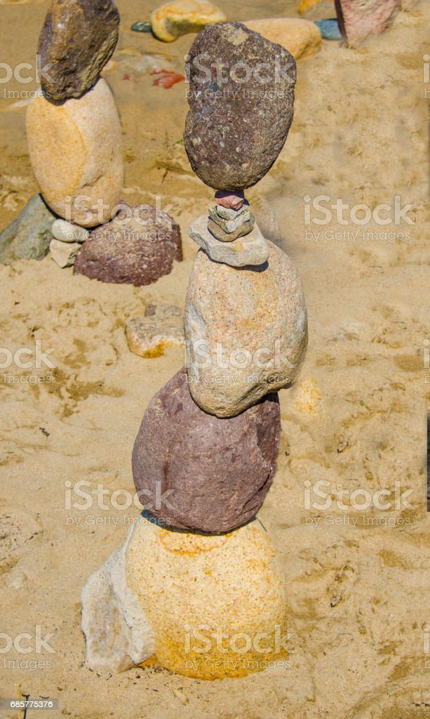 Standing Stacked Rocks on Seashore royalty-free stock photo
