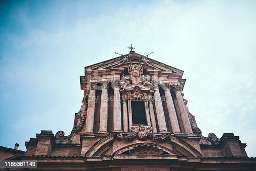 Cropped shot of Saints Vincent and Anastasius church during a sunny day in Rome