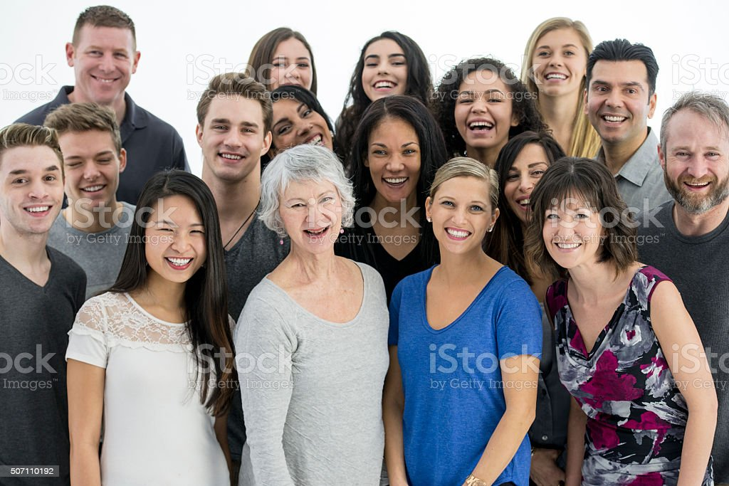 Standing Together as a Happy Family stock photo