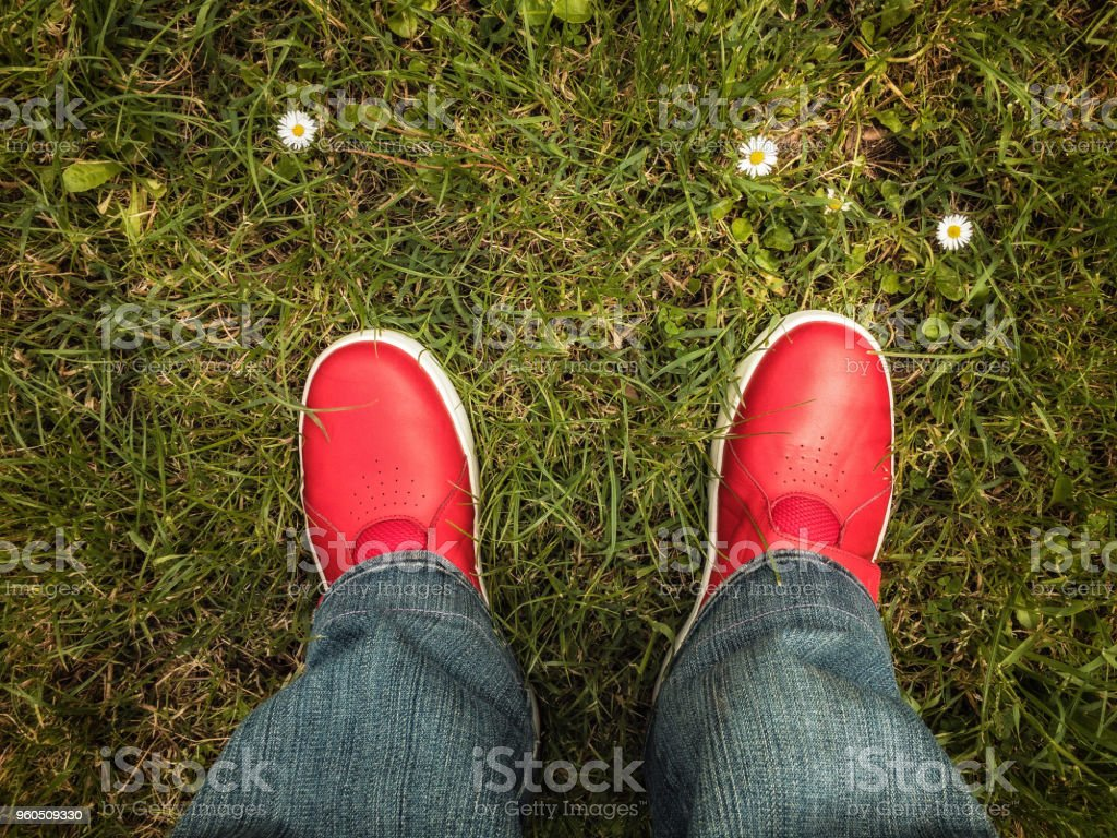 Standing with my red shoes on the grass stock photo