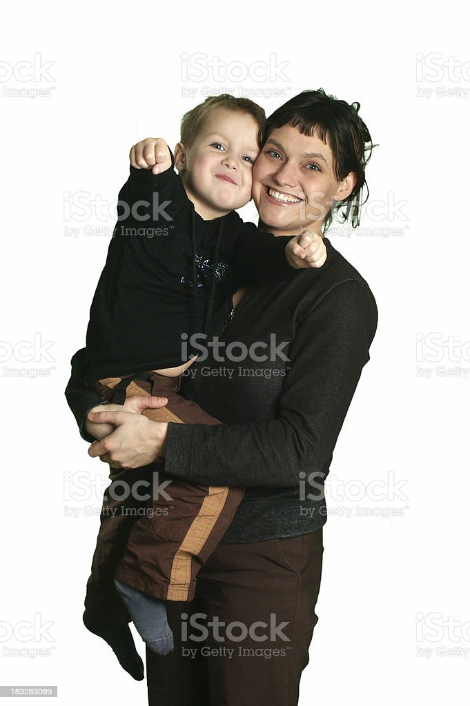 Standing woman carrying her son isolated on white royalty-free stock photo