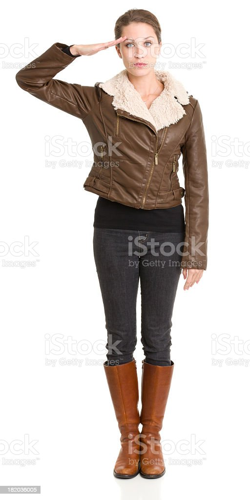 Standing Woman Saluting royalty-free stock photo
