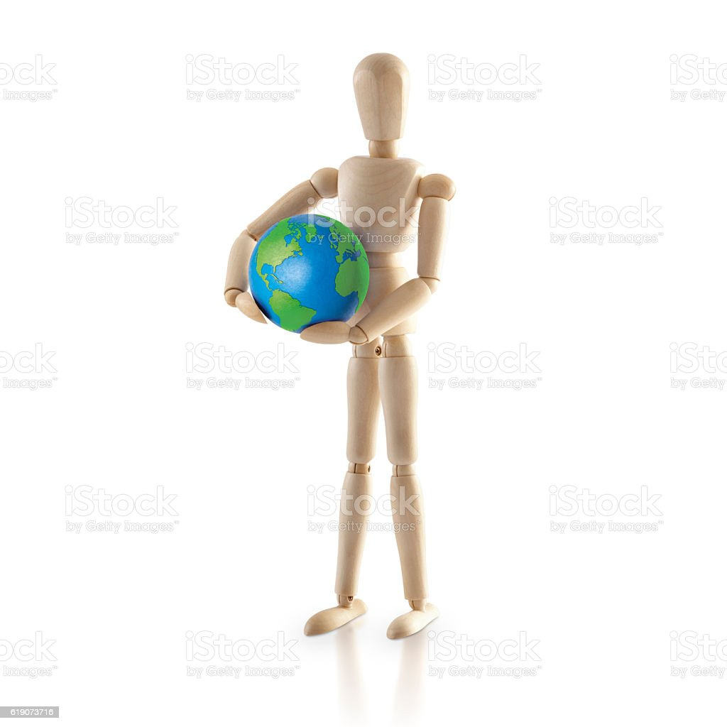 Standing Wood model carry the world stock photo