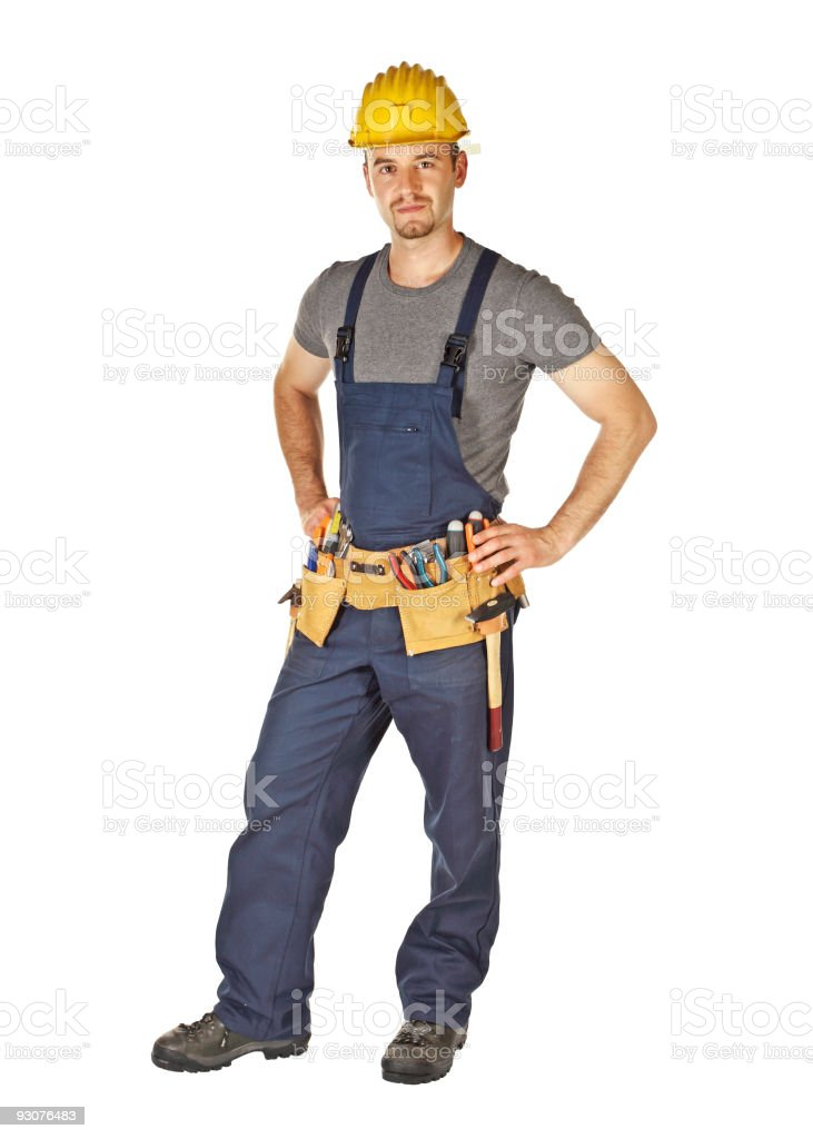 standing young caucasian manual worker royalty-free stock photo