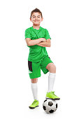 standing young soccer player with football isolated over white background